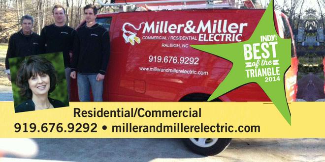 Miller and Miller Electricians standing in front of a work van.